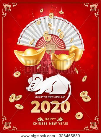 White Metal Rat Is A Symbol Of 2020 Chinese New Year. Vertical Banner With Realistic Gold Ingots Yua