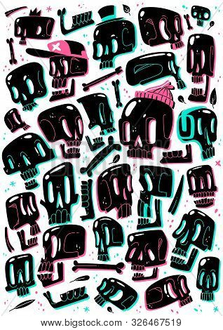 Cartoon skull set. set of black cartoon skulls different proportions game imbalances characters variations fashion cute hipster collection stickers prints poster