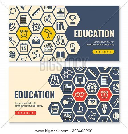 Education Flat Icons Horizontal Banners. Two Horizontal Banners With Shadows On A White Background W