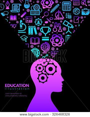 Education Flat Icons Illustration. Vertical Conceptual Poster Silhouette Profile Of A Man With Fluor