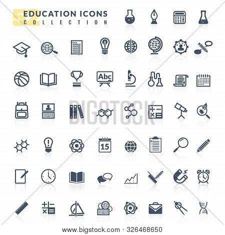 Education Flat Icons Set. Set Vector Flat Design Icons Education Process School University Students