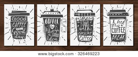 Realistic Coffee Cup Posters Set. Set Of Four Vertical Posters With Subjects On The Coffee Theme And