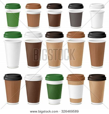 Realistic Coffee Disposable Cups Set. Realistic Coffee Disposable Cups Set