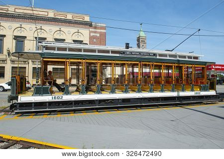 Lowell, Ma, Usa - Sep. 2, 2018: Lowell Open Trolley Streetcar #1602 At National Streetcar Museum On