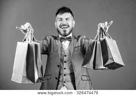 Businessman In Bow Tie. Heavy Bags. Mature Shopaholic. Stylish Esthete With Shopping Bags. Holiday P