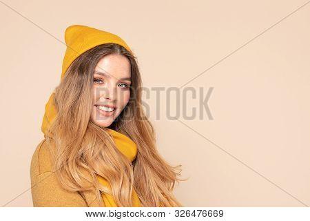 Fashionable Girl In Autumn Yellow Cap.