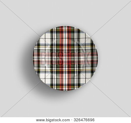 Designer Plate Round Shape In Check Graphics