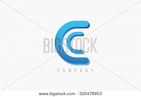 3d Line Blue C Letter Logo Alphabet For Icon Design. For A Logotype On A Company Or Business.