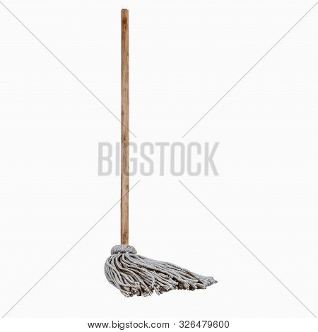 Wooden Handle And Mop Standing White Background Clean Full Length Single Hygiene