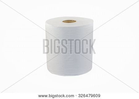 Jumbo Hand Towel Roll Single Tissue Sheet Ply White Background Clean