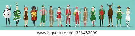 Merry Christmas , Group Of Teens In Christmas Costume Concept Isolated On Blue Background , Vector,