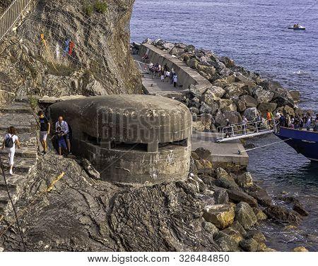 Monterosso Al Mare, Ligunia, Italy - September 21: World War 2 Bunker On September 21, 2019 In Monte