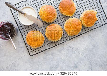 Homemade Raisin Scones Serve With Homemade Strawberries Jam,clotted Cream And Tea. Scones Is English
