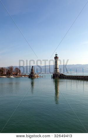 In the port of Lindau on Lake Constance, Germany