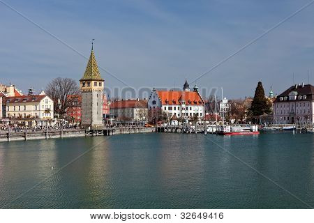 In the port of Lindau at Lake Constance   Germany