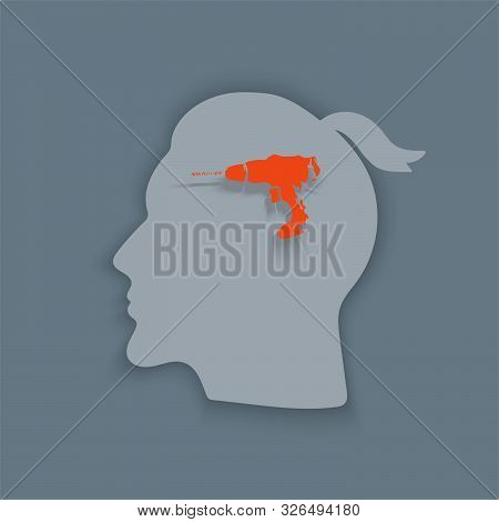 Boring Headache.headache Icon.  Vector Abstract Minimal Illustration Of Young Man With Red Drill In