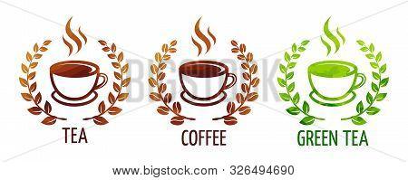Coffee And Tea Cups Vector Symbols. Logo Coffee Cup With Coffee Wreath. Logo Green Tea Cup With Wrea