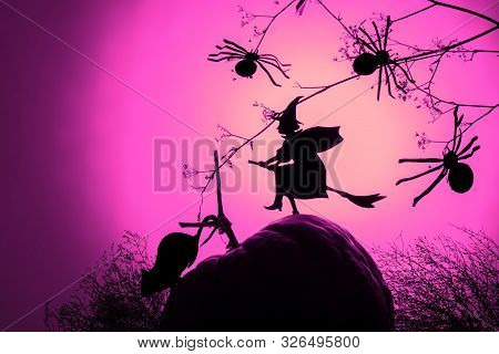 Creative Trendy Halloween Background With A Flying Witch Silhouette And Spiders A Pink Neon Gradient
