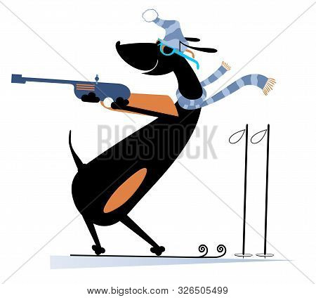 Biathlon Competitor Dog Illustration. Shooting In The Stand Position Biathlon Competitor Dog Cartoon