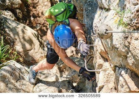 Woman On A Via Ferrata Called Peretele Zanelor At Vadu Crisului, Bihor County, Romania - Top Down Vi
