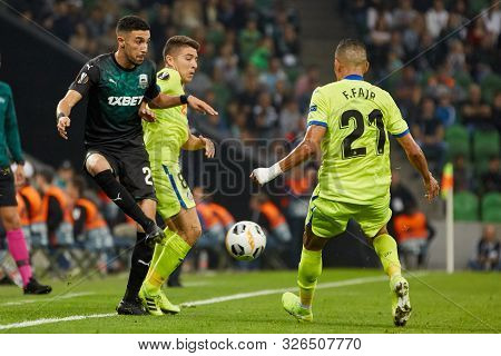 Krasnodar, Russia - October 3, 2019: Younes Namli Of Fc Krasnodar Battle For The Ball With Faycal Fa