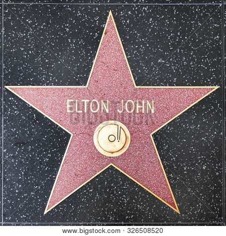 Los Angeles, Usa - March 5, 2019: Closeup Of Star On The Hollywood Walk Of Fame For Elton John.