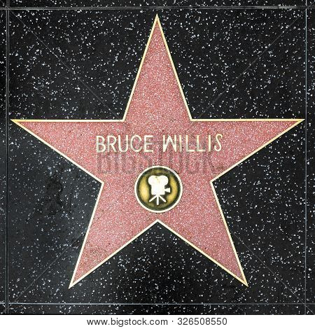 Los Angeles, Usa - March 5, 2019: Closeup Of Star On The Hollywood Walk Of Fame For Bruce Willis.
