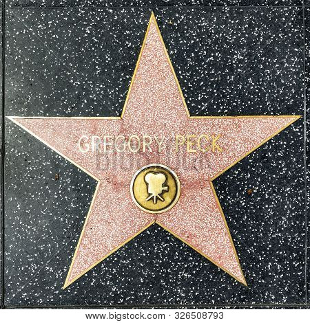 Los Angeles, Usa - March 17, 2019: Closeup Of Star On The Hollywood Walk Of Fame For Gregory Peck.
