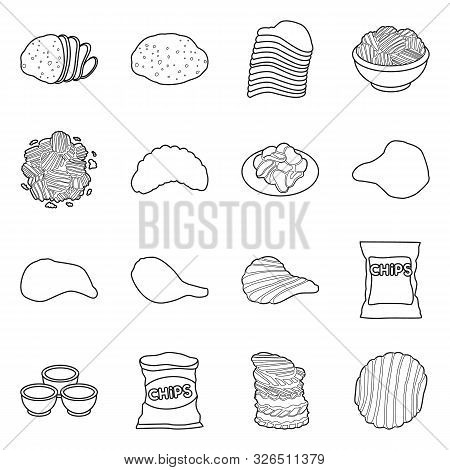 Vector Illustration Of Chips And Crisp Logo. Set Of Chips And Food Stock Symbol For Web.