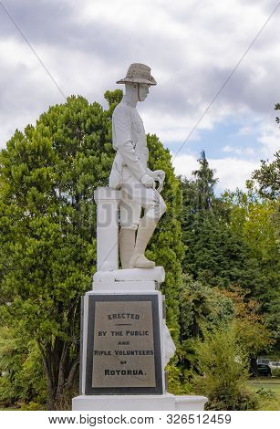 Rotorua, New Zealand - Mar 12, 2019: Rotorua South African War Memorial Donated By Rifle Volunteers