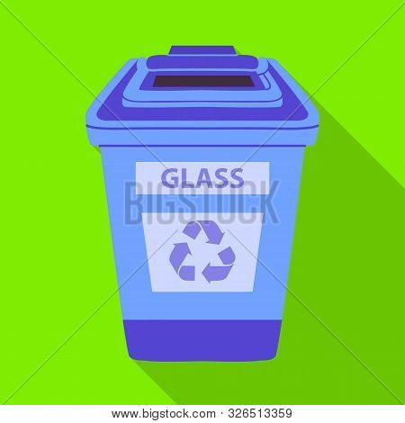 Vector Illustration Of Dustbin And Trash Sign. Graphic Of Dustbin And Glass Stock Symbol For Web.