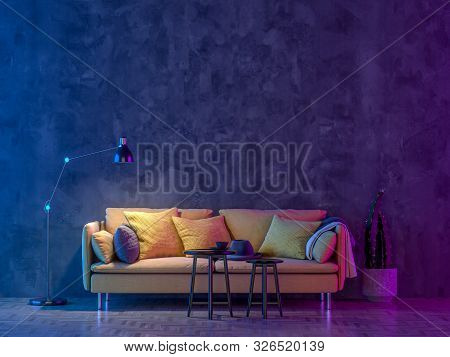 Modern Livingroom With Colored Led Light - Wall Background. 3d Render