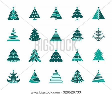 Christmas Tree Silhouette Icons Set. Isolated On White Web Sign Kit Of Stylized Spruce. Fir Farm Pic