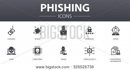 Phishing Simple Concept Icons Set. Contains Such Icons As Attack, Hacker, Cyber Crime, Fraud And Mor