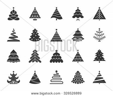 Christmas Tree Icons Set. Sign Kit Of Xmas Trendy. Spruce Stylized Pictogram Collection Includes Gar