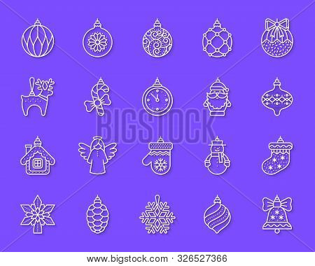 Tree Decorations Paper Cut Line Icons Set. 3d Web Sign Kit Of Christmas. Ball Linear Pictogram Angel