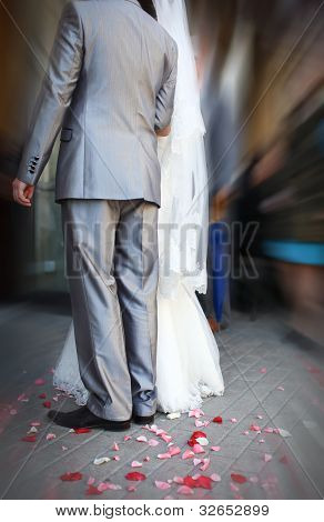 Bride And Groom At Wedding Ceremony Hand In Hand