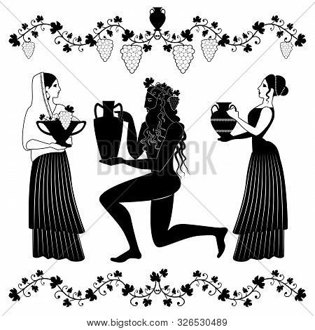 Women Holding Vessel And Fruit Bowl And Man Or God Dionysus Kneeling, Grabbing Amphora And Crowned W