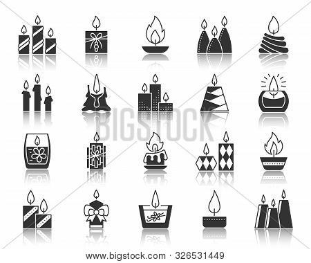 Candle Flame Silhouette Icons Set. Monochrome Sign Kit Church Decoration. Memorial Fire Pictogram Ho