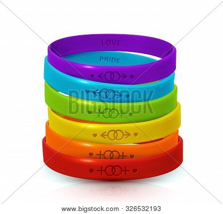 Lgbt Pride Concept. Rainbow Rubber Bracelets For Homosexualist. Colorful Silicone Wristbands With Sy