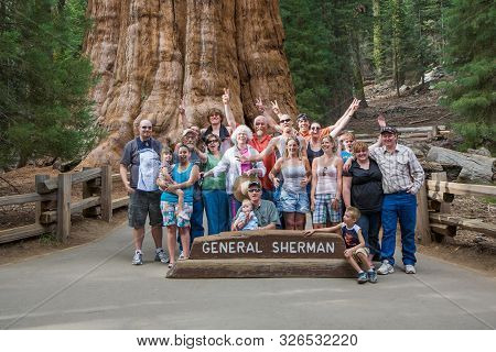 Three Rivers, Usa - July 20, 2008: Happy Family Enjoys Posing In Sequoia National Park In Fromt Of G