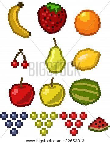 Pixel fruit - vector set