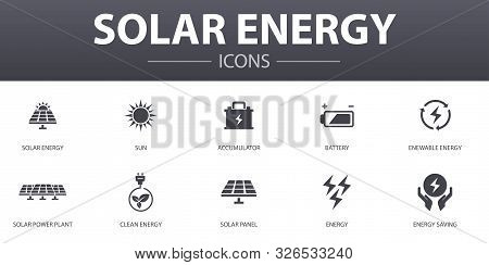 Solar Energy Simple Concept Icons Set. Contains Such Icons As Sun, Battery, Renewable Energy, Clean