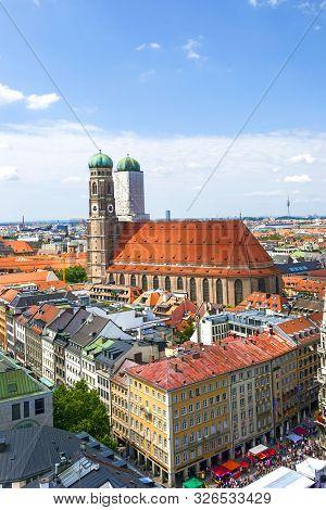 Munich, Germany - Jul 9, 2011: Aerial View Of Munich To Marienplatz, New Town Hall And Frauenkirche.