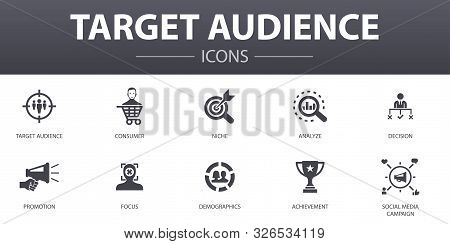 Target Audience Simple Concept Icons Set. Contains Such Icons As Consumer, Demographics, Niche, Prom