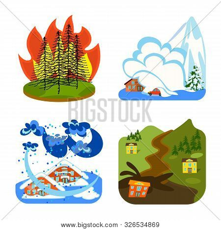 Vector Design Of Cataclysm And Disaster Symbol. Set Of Cataclysm And Apocalypse Stock Symbol For Web
