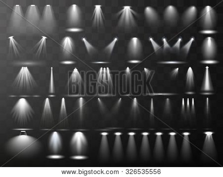 Scene Illumination Collection. Big Set Bright Lighting With Spotlights. Spot Lighting Of The Stage.v