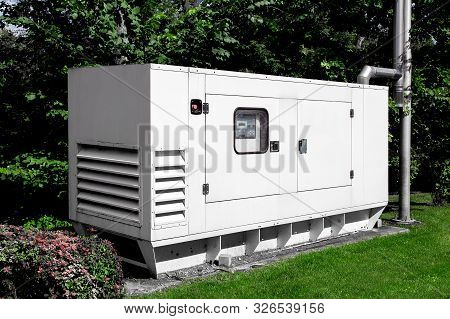 Emergency Generator For Uninterruptible Power Supply, Diesel Installation In An Iron Casing With An