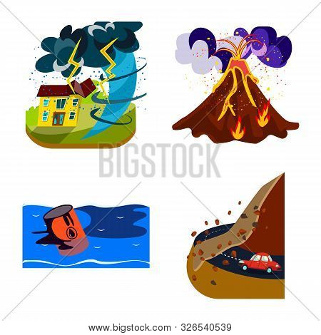 Vector Design Of Cataclysm And Disaster Sign. Collection Of Cataclysm And Apocalypse Stock Vector Il