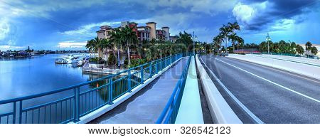 Dark Clouds Over Herbert R. Savage Bridge, Over Savage Pass, At The Entrance Of Marco Island